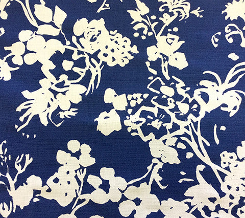 China Seas Fabric: Silhouette Reverse - Custom New Navy on White Linen/Cotton