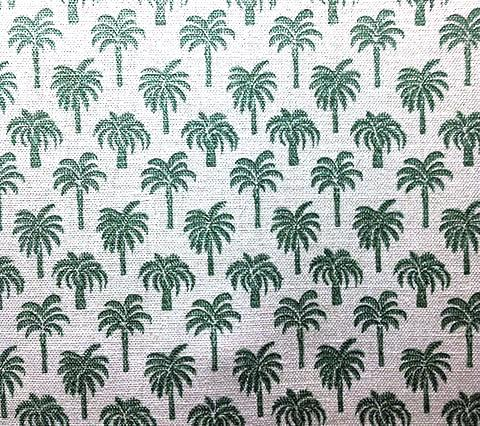 China Seas Fabric Island Palms Celadon Green palm tree print on Belgian Linen/Cotton