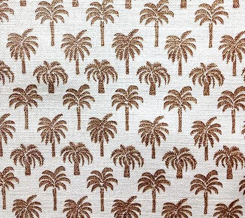 China Seas Fabric: Island Palms - Brown small palm tree print on Belgian Linen/Cotton