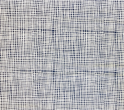 Alan Campbell Fabric: Criss Cross - Custom Navy check textured print on White Belgian Linen/Cotton