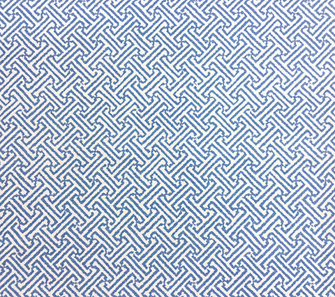 China Seas Fabric: Java Java - Custom French Blue on White 100% Belgian Linen