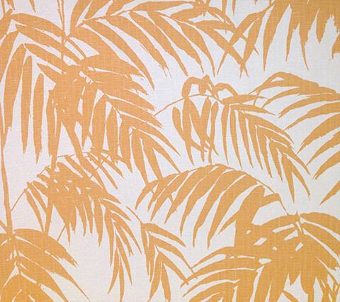 China Seas Fabric: Martinique - Custom New Ochre yellow palm front print on Avora Flame Resistant, Commercial Quality