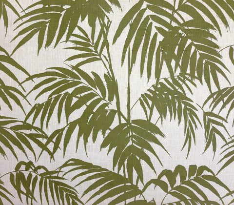 China Seas Fabric: Martinique - Custom Olive Green on Tinted 100% Belgian Linen