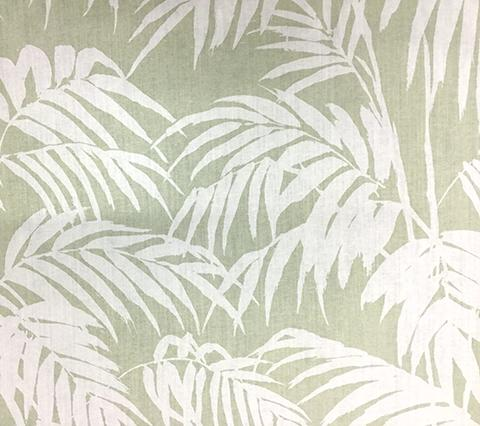 China Seas Fabric: Martinique Reverse - Custom Light Green on Tan 100% Belgian Linen