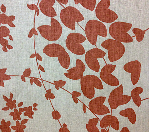 China Seas Fabric: Lysette - Custom Salmon on Tan 100% Belgian Linen