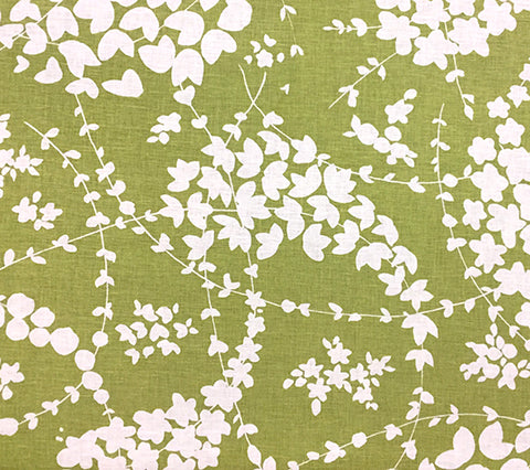 China Seas Fabric: Lysette Reverse - Custom Palm Green on White Linen/Cotton
