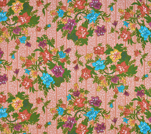 China Seas Fabric: China Floral - Multi on Tangerine Linen/Cotton (Imported from Switzerland)