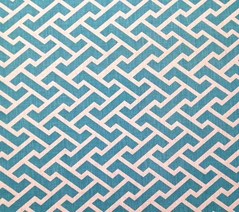 China Seas Fabric Aga Reverse Custom Turquoise on White 100% Belgian Linen