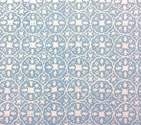 China Seas Fabric: Nitik II - Custom Sky Blue on Belgian Linen/Cotton