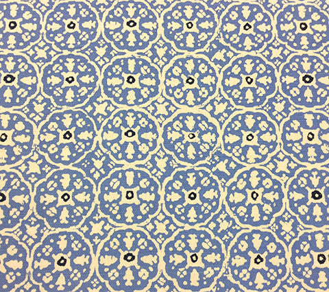China Seas Fabric: Nitik II - Custom Light Pacific Blue / Navy on Belgian Linen/Cotton