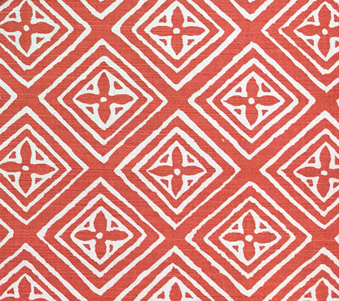 China Seas Fabric: Fiorentina - Custom Coral diamond print on White Belgian Linen/Cotton