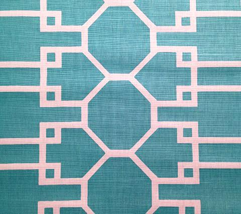 Quadrille Prints: Brighton Reverse - Custom Turquoise on White Belgian Linen/Cotton