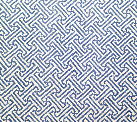 China Seas Fabric: Java Java - Custom French Blue on White Belgian Linen/Cotton