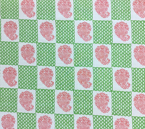 China Seas: Bangalore - Custom Jungle Green / Coral paisley checkered print on Tinted Belgian Linen/Cotton