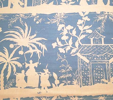 China Seas Fabric: Lyford Background - Custom Medium Blue chinoiserie asian print pagoda on White Belgian Linen/Cotton