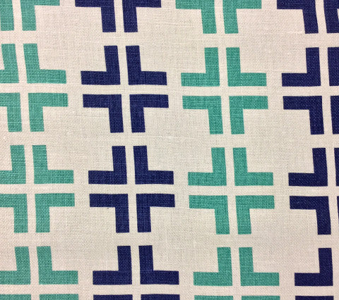 China Seas Fabric Frowick Large Scale Custom Navy Summer Green geometric print on Oyster Belgian Linen Cotton