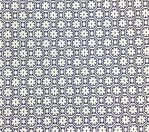 China Seas Fabric: Ceylon Batik - Custom Dark Blue on White Belgian Linen/Cotton
