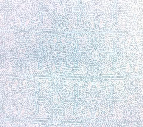 Home Couture Fabric: Persia - Custom Turquoise allover soft geometric lacy print on White 100% Belgian Linen