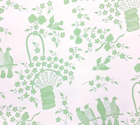 China Seas Wallpaper: Birds - Custom Celadon Green on White Paper