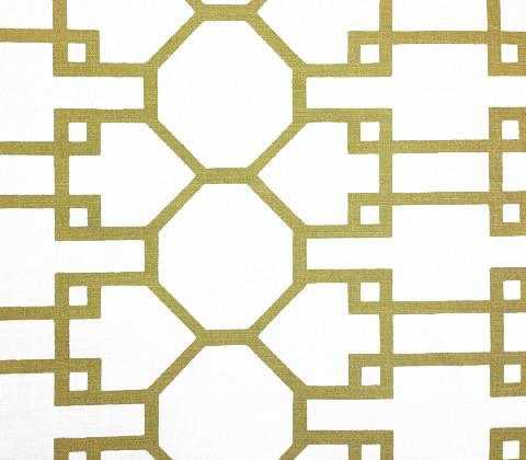 Quadrille Prints: Brighton - Custom Gold large trellis geometric pattern on Tinted Belgian Linen/Cotton
