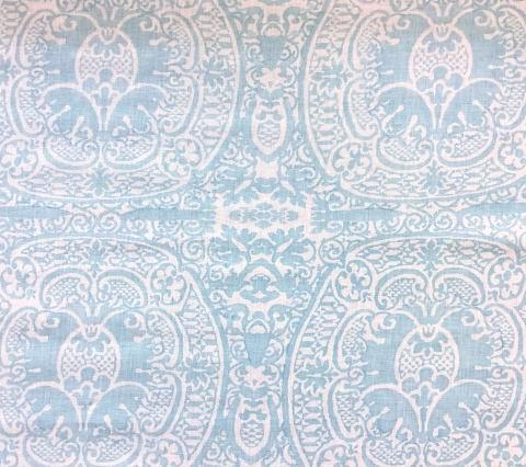 Quadrille Prints: Veneto - Custom Pale Aqua on White 100% Belgian Linen