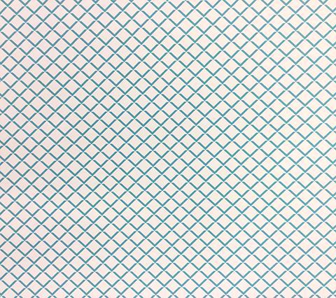 Quadrille Wallpaper: Terrace - Custom Venice Blue small scale diamond geometric grid print on Off White Paper