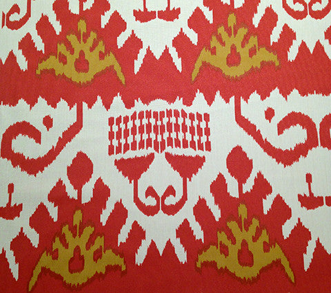 Quadrille Prints: Kazak - Terracotta / Mustard on Vellum Suncloth (Indoor/Outdoor Quality)