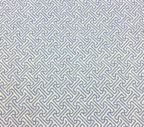 China Seas Fabric: Java Petite - Custom French Blue on White Belgian Linen/Cotton