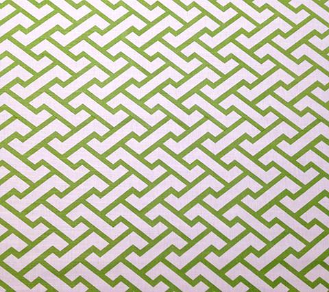 China Seas Fabric Aga - Custom Jungle Green on White Belgian Linen Cotton Geometric