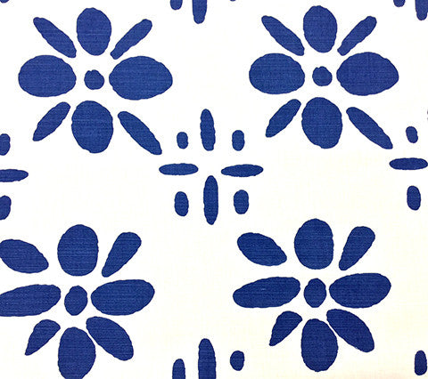 China Seas Fabric: Wildflowers II - Custom Navy on White Belgian Linen/Cotton