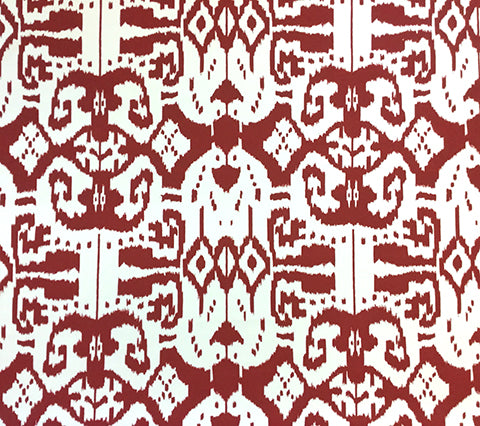 China Seas Fabric: Island Ikat - Custom Red ikat batik print on White Suncloth Sunbrella (Outdoor Quality)