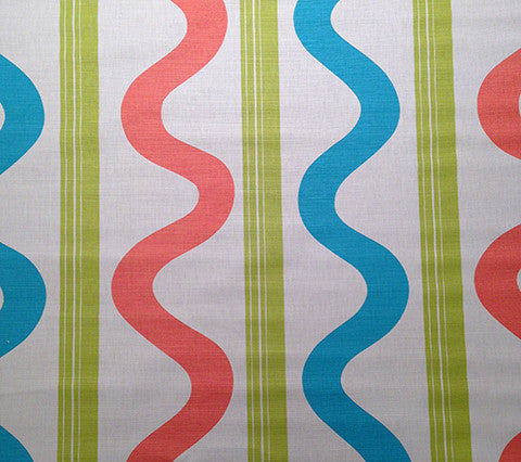 China Seas Fabric: Tete a Tete Vertical - Custom Aqua / Peach / Lime on Tinted 100% Belgian Linen