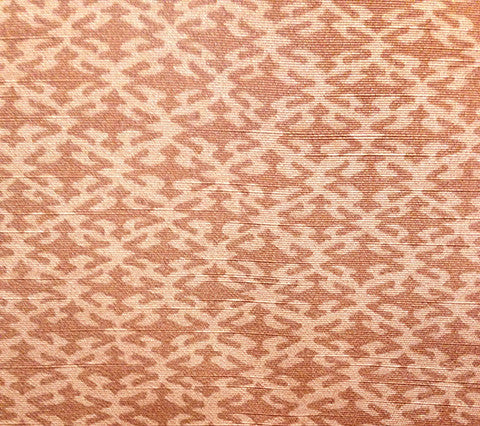 China Seas Fabric Izmir Custom Russet Peach orange small geometric print on Belgian Linen/Cotton