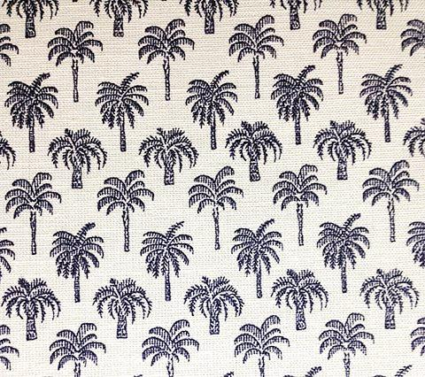 China Seas Fabric Island Palms Navy small palm tree print on Belgian Linen/Cotton