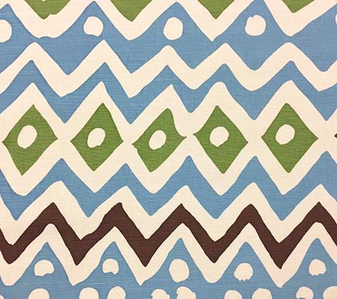 Alan Campbell Fabric: Cap Ferrat - Custom Blue Brown Green on Belgian Linen Cotton