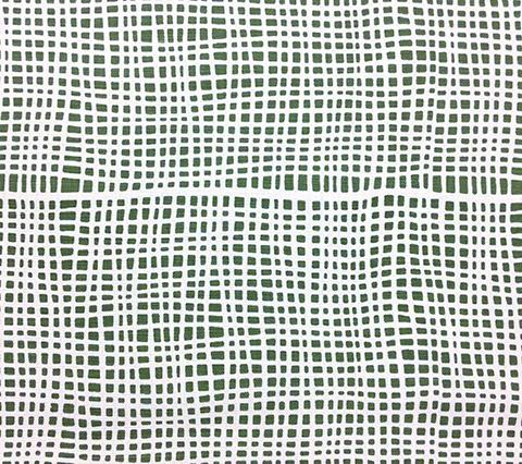 Alan Campbell Fabric: Criss Cross - Custom Green small plaid check print on White Belgian Linen/Cotton