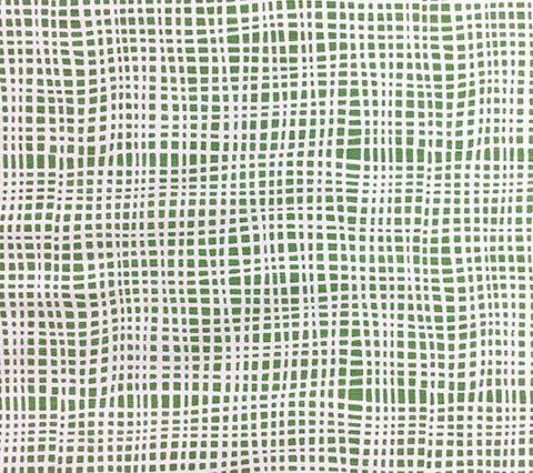 Alan Campbell Fabric: Criss Cross - Custom Green textured check print on White Belgian Linen/Cotton
