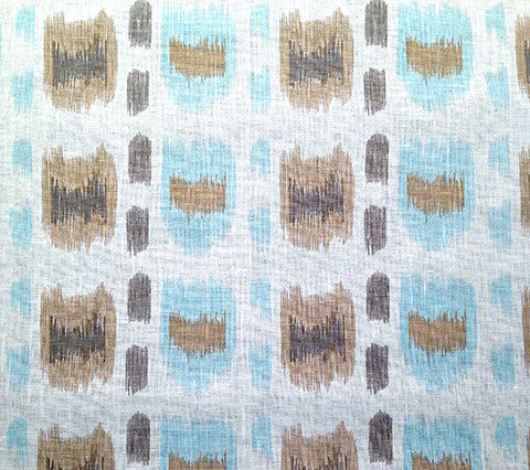 Alan Campbell Fabric: Cintra - Custom Taupe / Teal / Brown on Belgian Linen Cotton