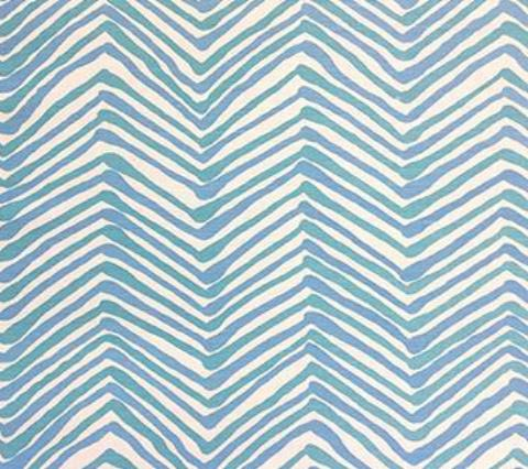 Alan Campbell Fabric: Zig Zag Multicolor - Custom Pool Blue / Open Seas on Tinted Belgian Linen/Cotton
