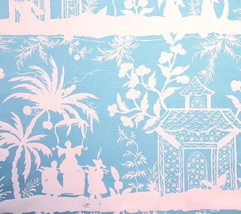 China Seas Fabric: Lyford Background - Custom Light Turquoise on White Belgian Linen/Cotton