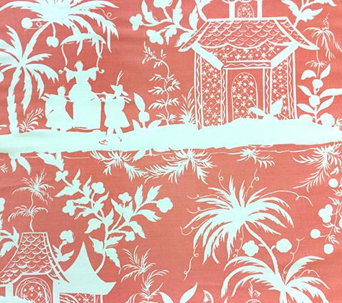 China Seas Fabric: Lyford Background - New Shrimp on White Belgian Linen/Cotton