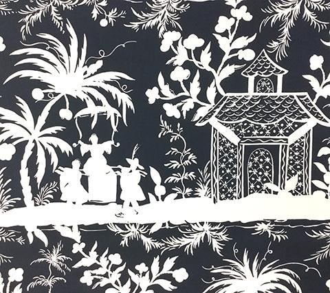 China Seas Fabric: Lyford Background - Custom Navy on White Suncloth