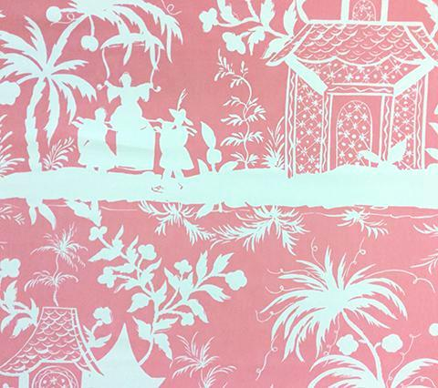 China Seas Fabric: Lyford Background - Custom Pink on White Suncloth (Outdoor Quality)