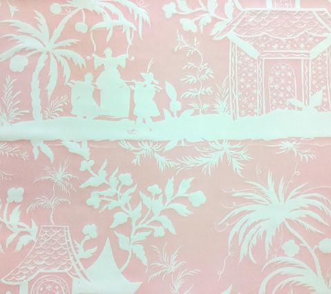 China Seas Fabric: Lyford Background - Custom Pleasing Pink on White Suncloth