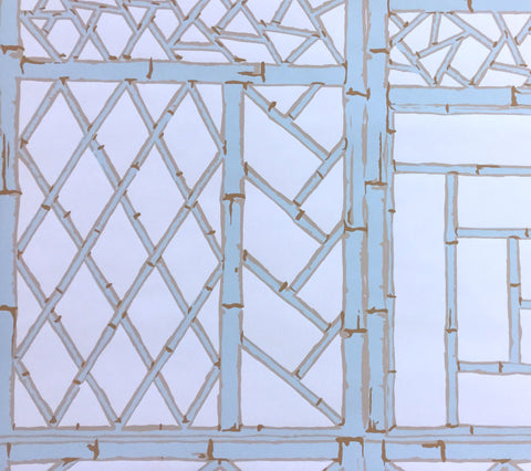 China Seas Wallpaper: Lyford Trellis - Custom Pale Blue / Camel on White Paper
