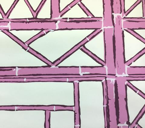 China Seas Wallpaper: Lyford Trellis - Custom Lilac / Purple on Off White Paper