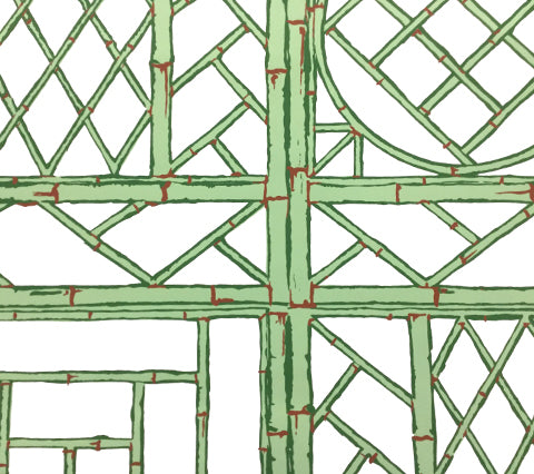 China Seas Wallpaper: Lyford Trellis - Custom Lime / Green / Brown on White Paper