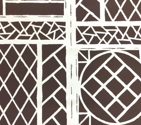China Seas Wallpaper: Trellis Background - Custom Brown on Almost White Paper