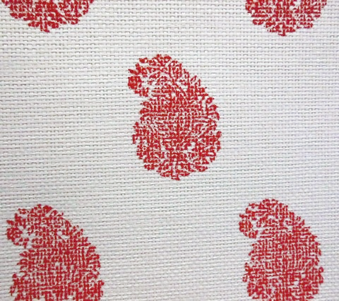 China Seas Wallpaper: Bangalore Paisley - Custom Coral on Grasscloth