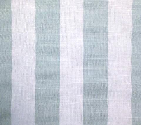 China Seas Fabric: Sand Bar Stripe - Custom Dusty Turquoise on White Belgian Linen/Cotton